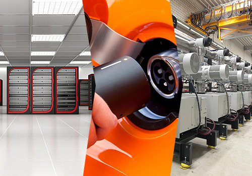 Collage showing a server room, the plug of an electric vehicle, and a warehouse full of electric motors.